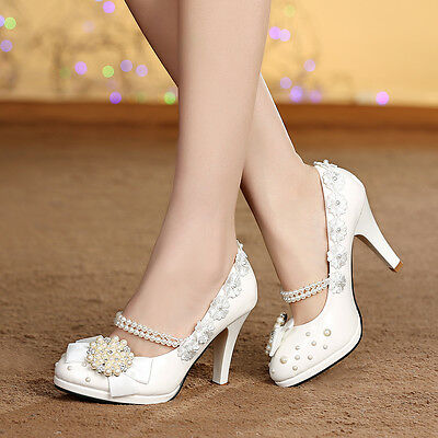 Royal Floral Women Bridal Shoes Wedding High Heels Lady New Pearl Party Pumps