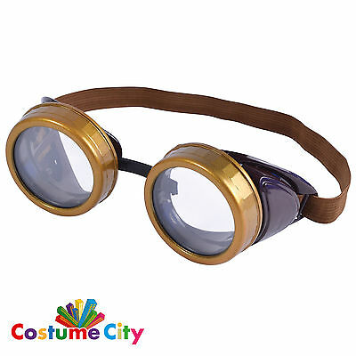 Adults Steampunk Goggles Cyber Victorian Welding Fancy Dress Costume Accessory