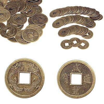100pcs Lucky Chinese Feng Shui Brass Coin Fortune Oriental Emperor Qing Money