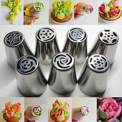 7pcs Stainless Russia Icing Piping Decor Nozzles Tips Cake Baking DIY Tools