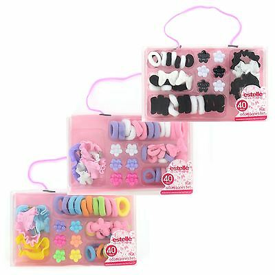 Girls Kids Childrens Hair Accessories 40pc Set Bobbles Flower Clips Bows