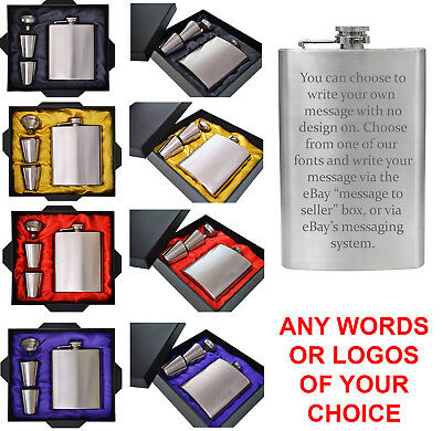 Personalised Engraved Hip Flask 6, 8, 10oz or 8oz SET Stainless Steel Mens Gift
