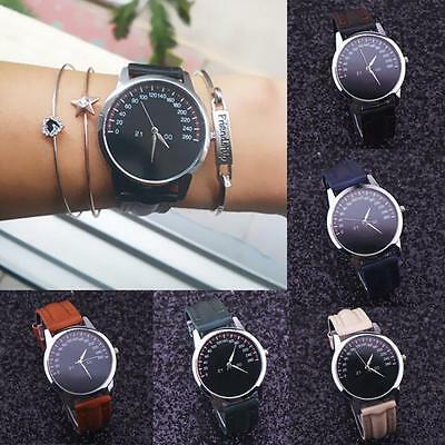 New Women Fashion Ladies Leather Band Stainless Steel Analog Quartz Wrist Watch