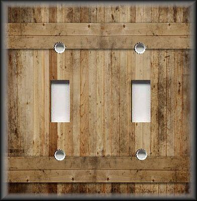 Metal Switch Plate Cover Rustic Barn Wood Planks Design Country Cabin Decor