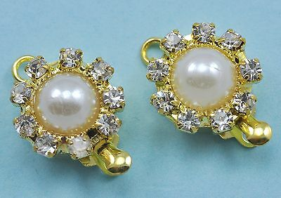 5x Size 12mm Gold Plated Pearl Rhinestone Push-in Box Clasps Jewellery Making