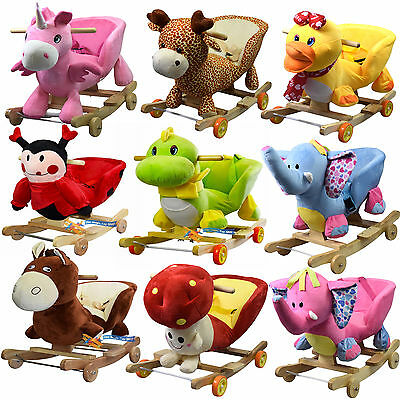 2 in 1 Baby Musical Rocking Horse Animal Ride On Rocker Chair & Walker Kids Toy