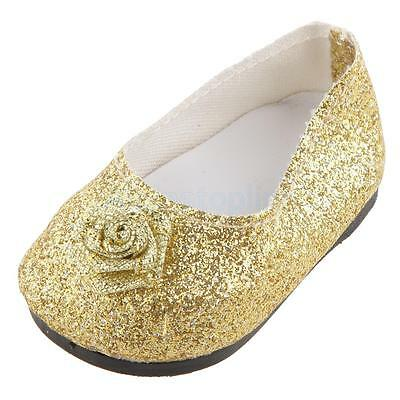New Golden Bling Bling Bow Shoes made for 18 Inch American Girl Doll Clothes