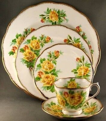 Royal Albert Yellow Tea Rose 5 Piece Place Setting (TWO Available)