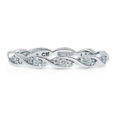 BERRICLE Sterling Silver Cubic Zirconia CZ Woven Wedding Eternity Band Ring