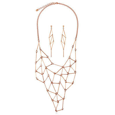 BERRICLE Rose Gold-Tone Fashion Necklace and Earrings Set