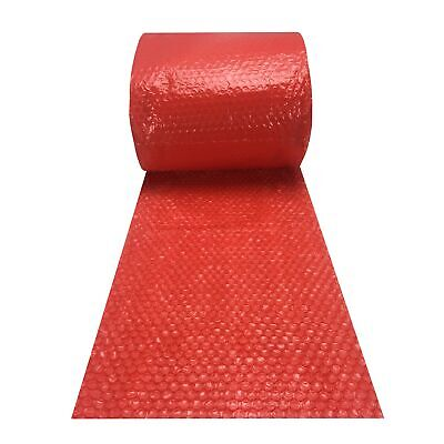 "Small Bubble Red Wrap - 60' x 12"" Wide perforated every 12"" bubble roll"
