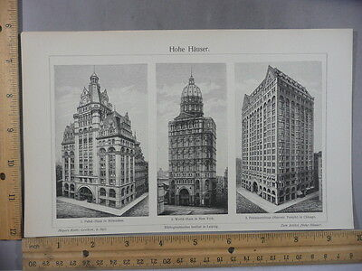 Rare Antique Orig VTG Hohe Hauser Tall Architecture Buildings Illustration Print
