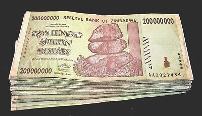 50 x Zimbabwe 200 million Dollar banknotes-circulated collectible currency