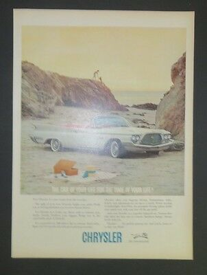 Original Magazine Ad 1960 Chrysler Convertible Beach Scene Photo White Vintage