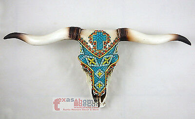 Longhorn Steer Southwestern Hand Painted Beads Cross Turquoise Stunning Detail