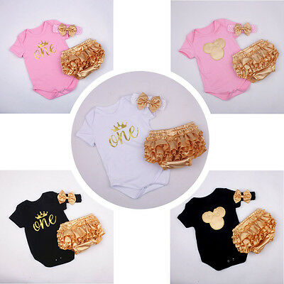 3pcs Infant Baby Girl Headband+Bodysuit+Shorts Outfit Party Clothes Romper Set