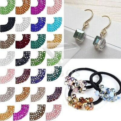 100pcs 4mm 6mm Crystal Beads Cube Square Loose Spacer DIY Jewelry Making