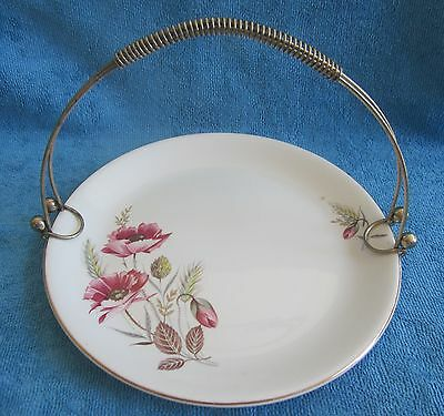 vintage ALFRED MEAKIN Harvest Time Serving PLATE, wire handle - cake, sandwich