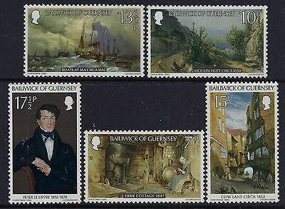 1980 Guernsey Peter Le Lievre Paintings Set Of 5 Fine Mint Mnh/muh