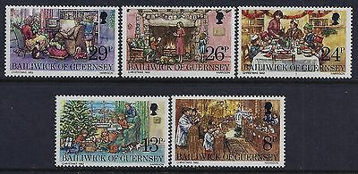 1982 Guernsey Christmas Set Of 5 Fine Mint Mnh/muh