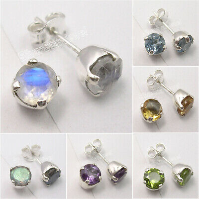 Stud Earrings !! 925  Silver Moonstone, Peridot & Other Stones Variation Choice