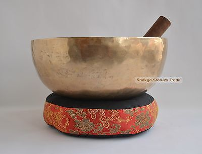 "10.5"" Bronze Alloy Hand Beaten Tibetan Buddhism Singing Healing Meditation Bowl"
