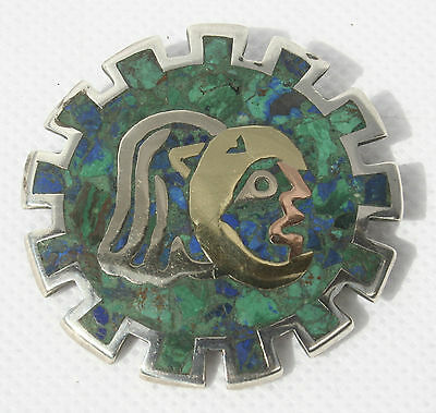Vintage Signed Mexico Taxco SH Silver Mixed Metal Turquoise Brooch & Pendant