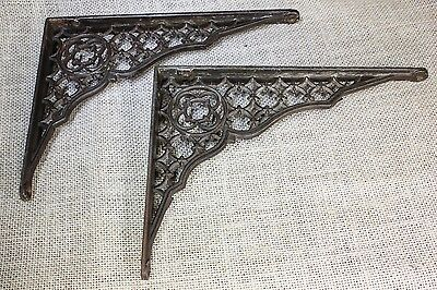 "2 Shelf support brackets braces 8 x 6"" vintage 1880's old rustic lattice paint"