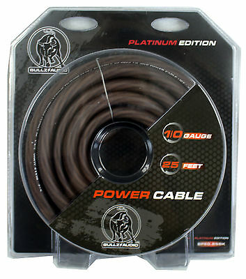 Bullz Audio 1/0 Gauge 25 Foot Pro Car Power Ground Cable Wire, Black | BPE0.25BK