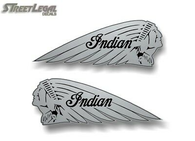 """2 SILVER 12"""" Indian Motorcycle War Bonnet Vinyl Decals L/R for Saddle Bags"""