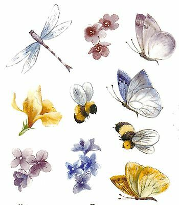 Butterfly Dragonfly Bee Flower Select-A-Size Ceramic Waterslide Decals Bx