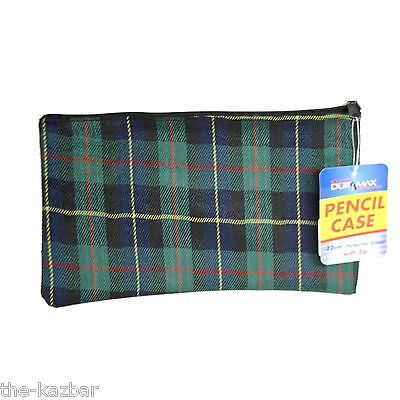 Tartan pencil case unisex adults or kids zipper top for art or school stationary