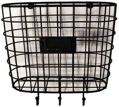 Metal Wire Basket Wall Pocket Mail Holder Organizer with Key Hooks Vintage Style