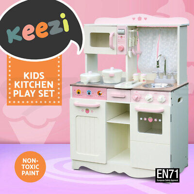 Keezi Kids Wooden Kitchen Pretend Play Set Children Toy Home Cookware Chef