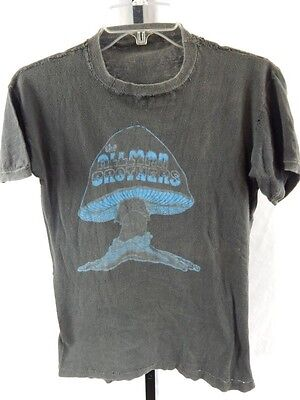 Vintage 1970s Black The Allman Brothers Thin Blue Mushroom T Shirt Southern Rock