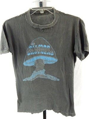 Vintage 70s The Allman Brothers Band Burnout Blue Mushroom T Shirt Southern Rock
