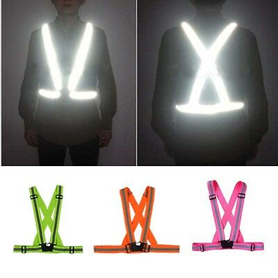Adjustable Cycling Running Reflective Safe Vest Durable Motorcycle Work Harness