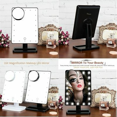 10X Magnifying Touch 20LED Light Make-up Makeup Cosmetic Tabletop Mirror UK SALE