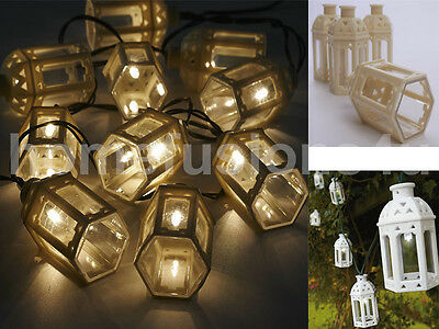 10 White Moroccan Lantern Solar Powered Garden Led Outdoor Fairy String Lights