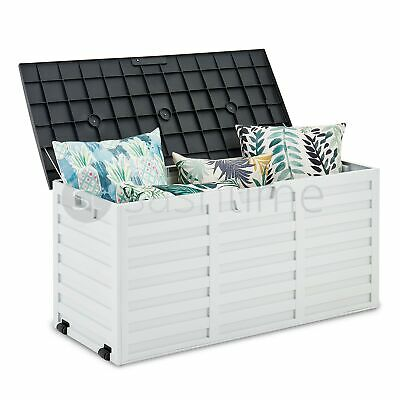 510L Outdoor Garden Storage Plastic Box Chest Tools Cushions Toys Lockable Seat