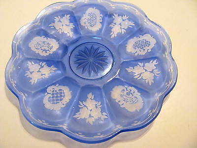Gorgeous Vintage Czech Bohemian Glass Plate Blue Cut To Clear