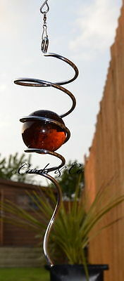 Silver Spiral Tail AMBER Glass BALL Wind Spinner Twister Home Garden Patio BOXED