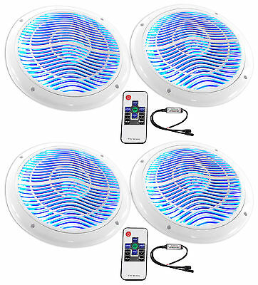 "(4) Rockville RMC65LW 6.5"" 1200w White Marine Speakers w/Multi Color LED+Remote"