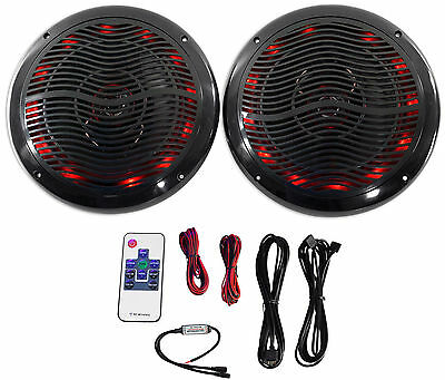 "Rockville RMC80LB 8"" 800w 2-Way Black Marine Speakers w Multi Color LED + Remote"