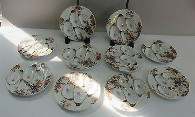 Set of 10 Matching Antique French HAVILAND OYSTER Plates  c. 1900  porcelain