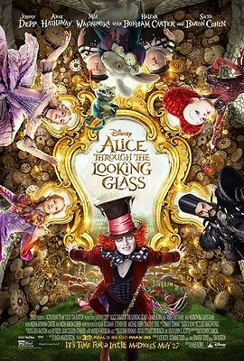 """ALICE THROUGH THE LOOKING GLASS Original 2 Sided DS 27x40"""" Movie Poster J Depp"""