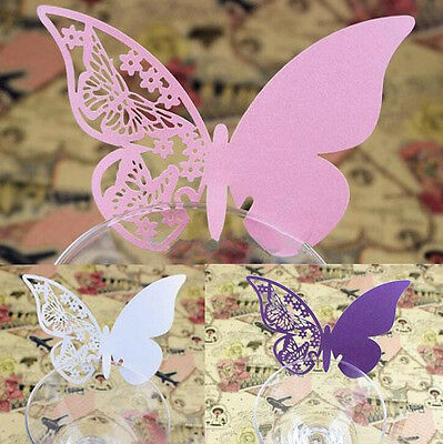 50pcs Cute Butterfly Place Escort Wine Glass Paper Card for Wedding Party Decor