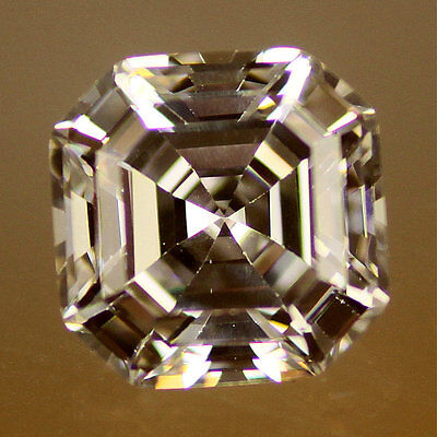 Blanc / Transparent 8.3mm (3ct) Asscher Coupe Zircone 6A CZ