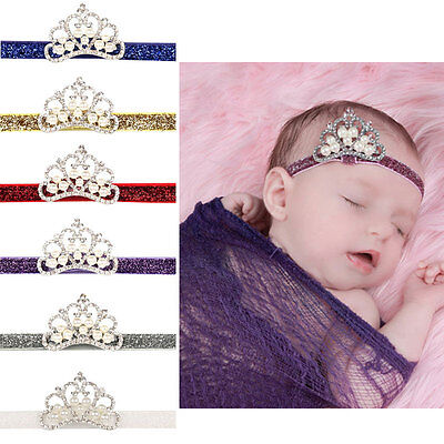 Baby Kids Infant Toddler Girl Princess Crown Pearl Headband Hairband Hair Band