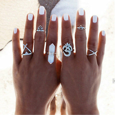 Boho Silver Women Stack Plain Above Knuckle Ring Midi Finger Tip 6pcs Rings Set